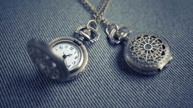 Pocket watch on fabric